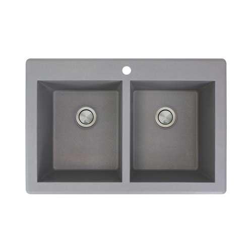 Samuel Mueller Renton Granite 33-in Drop-In Kitchen Sink Kit with Grids, Strainers and Drain Installation Kit in Grey