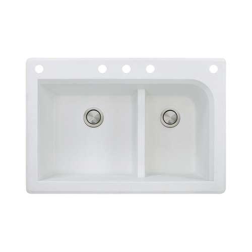 Samuel Mueller Renton 33in x 22in silQ Granite Drop-in Double Bowl Kitchen Sink with 5 CABDF Faucet Holes, In White
