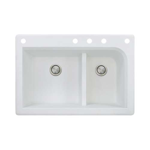 Samuel Mueller Renton 33in x 22in silQ Granite Drop-in Double Bowl Kitchen Sink with 5 CADEF Faucet Holes, In White
