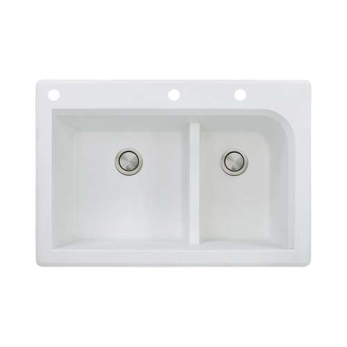 Samuel Mueller Renton 33in x 22in silQ Granite Drop-in Double Bowl Kitchen Sink with 3 CAE Faucet Holes, In White
