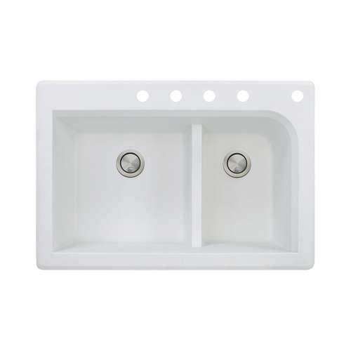Samuel Mueller Renton 33in x 22in silQ Granite Drop-in Double Bowl Kitchen Sink with 5 CBDEF Faucet Holes, In White