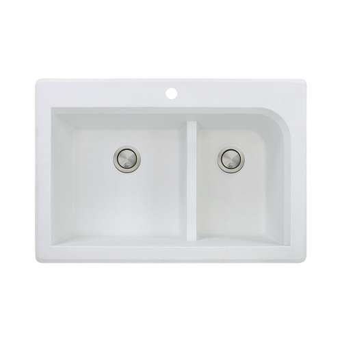 Samuel Mueller Renton Granite 33-in Drop-In Kitchen Sink Kit with Grids, Strainers and Drain Installation Kit in White