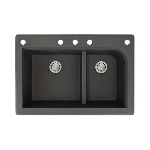 Samuel Mueller Renton 33in x 22in silQ Granite Drop-in Double Bowl Kitchen Sink with 5 CABDF Faucet Holes, In Black