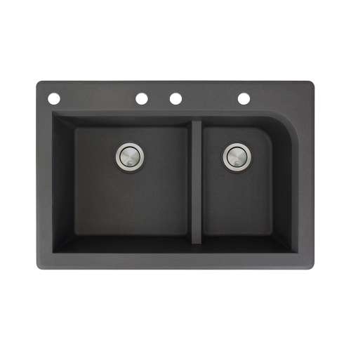 Samuel Mueller Renton 33in x 22in silQ Granite Drop-in Double Bowl Kitchen Sink with 4 CABE Faucet Holes, In Black
