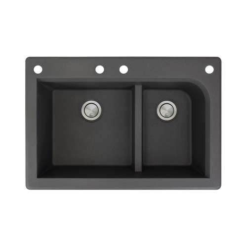 Samuel Mueller Renton 33in x 22in silQ Granite Drop-in Double Bowl Kitchen Sink with 4 CABF Faucet Holes, In Black