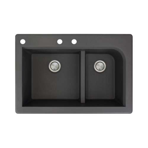 Samuel Mueller Renton 33in x 22in silQ Granite Drop-in Double Bowl Kitchen Sink with 3 CAB Faucet Holes, In Black