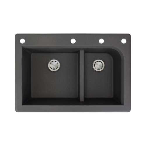 Samuel Mueller Renton 33in x 22in silQ Granite Drop-in Double Bowl Kitchen Sink with 4 CAEF Faucet Holes, In Black