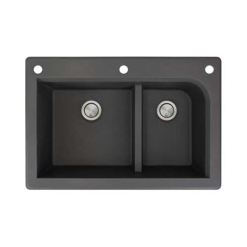 Samuel Mueller Renton 33in x 22in silQ Granite Drop-in Double Bowl Kitchen Sink with 3 CAF Faucet Holes, In Black