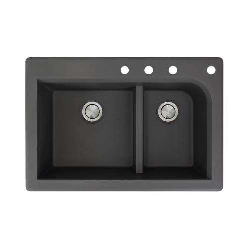 Samuel Mueller Renton 33in x 22in silQ Granite Drop-in Double Bowl Kitchen Sink with 4 CDEF Faucet Holes, In Black