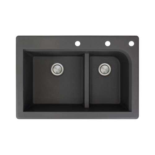 Samuel Mueller Renton 33in x 22in silQ Granite Drop-in Double Bowl Kitchen Sink with 3 CEF Faucet Holes, In Black