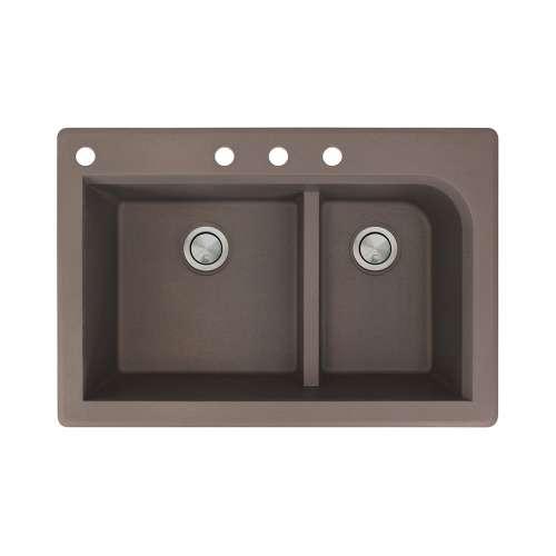 Samuel Mueller Renton 33in x 22in silQ Granite Drop-in Double Bowl Kitchen Sink with 4 CABD Faucet Holes, In Espresso