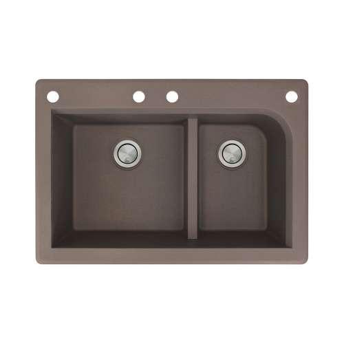 Samuel Mueller Renton 33in x 22in silQ Granite Drop-in Double Bowl Kitchen Sink with 4 CABF Faucet Holes, In Espresso