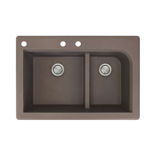 Samuel Mueller Renton 33in x 22in silQ Granite Drop-in Double Bowl Kitchen Sink with 3 CAB Faucet Holes, In Espresso