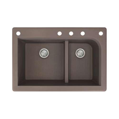 Samuel Mueller Renton 33in x 22in silQ Granite Drop-in Double Bowl Kitchen Sink with 5 CADEF Faucet Holes, In Espresso