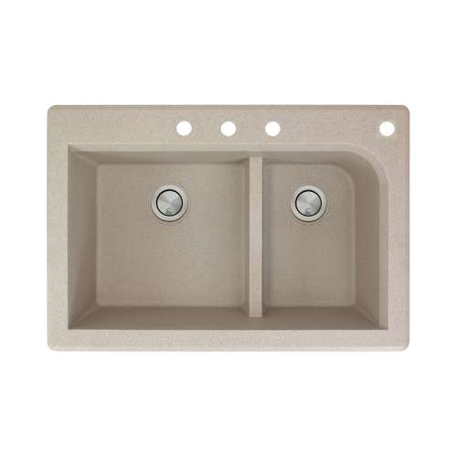 Samuel Mueller Renton 33in x 22in silQ Granite Drop-in Double Bowl Kitchen Sink with 4 CBDF Faucet Holes, In Cafe Latte