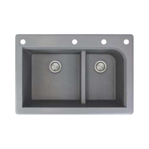 Samuel Mueller Renton 33in x 22in silQ Granite Drop-in Double Bowl Kitchen Sink with 4 CAEF Faucet Holes, In Grey