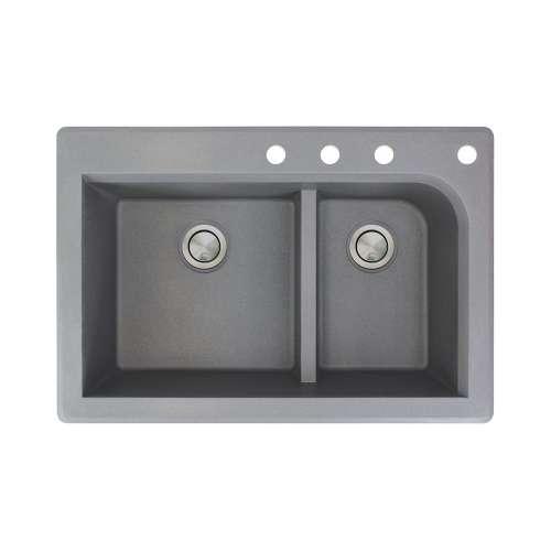 Samuel Mueller Renton 33in x 22in silQ Granite Drop-in Double Bowl Kitchen Sink with 4 CDEF Faucet Holes, In Grey