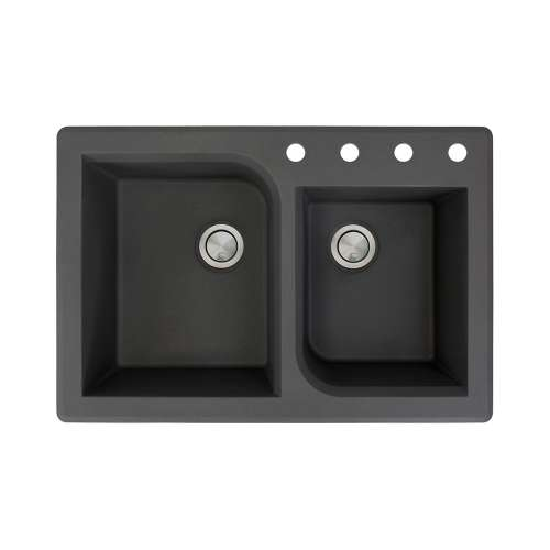 Samuel Mueller Renton 33in x 22in silQ Granite Drop-in Double Bowl Kitchen Sink with 4 ABCD Faucet Holes, In Black