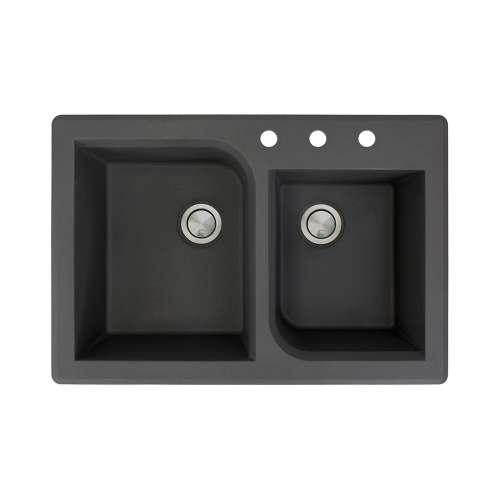Samuel Mueller Renton 33in x 22in silQ Granite Drop-in Double Bowl Kitchen Sink with 3 ABC Faucet Holes, In Black