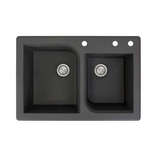 Samuel Mueller Renton 33in x 22in silQ Granite Drop-in Double Bowl Kitchen Sink with 3 ACD Faucet Holes, In Black