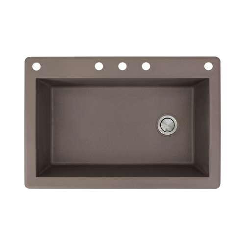 Samuel Mueller Renton 33in x 22in silQ Granite Drop-in Single Bowl Kitchen Sink with 5 CABDE Faucet Holes, In Espresso