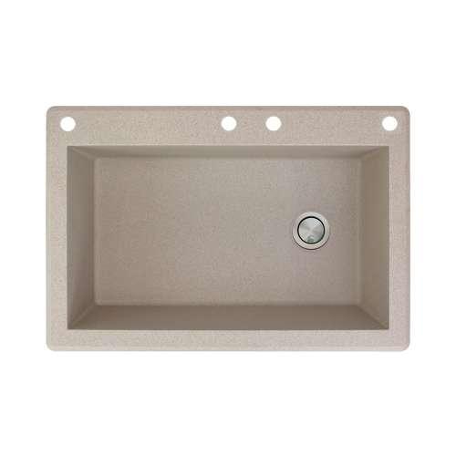 Samuel Mueller Renton 33in x 22in silQ Granite Drop-in Single Bowl Kitchen Sink with 4 CADE Faucet Holes, In Cafe Latte