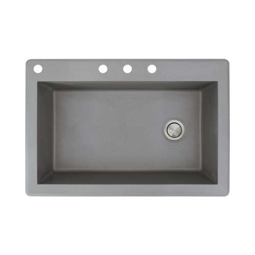 Samuel Mueller Renton 33in x 22in silQ Granite Drop-in Single Bowl Kitchen Sink with 4 CABD Faucet Holes, In Grey