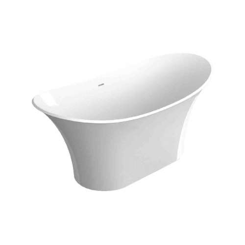 Samuel Mueller Avery 60-in L x 30-in W x 27.5-in H Resin Stone Freestanding Bathtub with center drain, in White