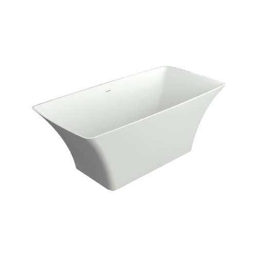 Samuel Mueller Lyla 60-in L x 30-in W x 24-in H Resin Stone Freestanding Bathtub with center drain, in White