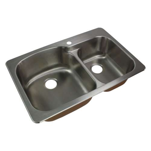 Samuel Mueller Silhouette 33in x 22in 18 Gauge Drop-in Double Bowl Kitchen Sink with 1-Hole with Grids, Strainer, Disposer Strainer, Ins