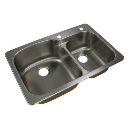 Samuel Mueller Silhouette 33in x 22in 18 Gauge Drop-in Double Bowl Kitchen Sink with 2 Faucet Holes