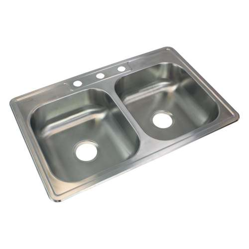 Samuel Mueller Silhouette 33in x 22in 22 Gauge Drop-in Double Bowl Kitchen Sink with 3 Faucet Holes