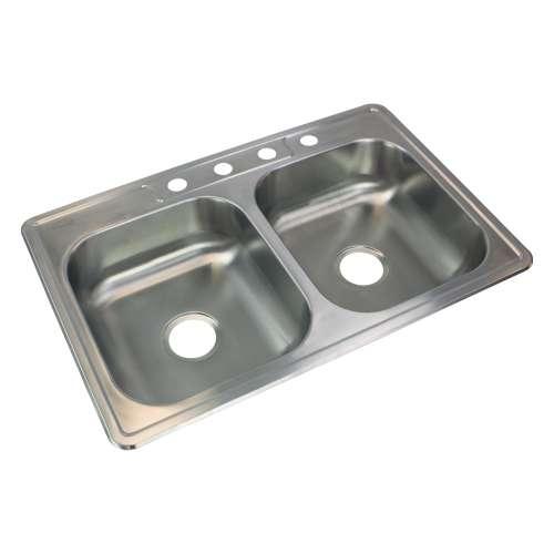 Samuel Mueller Silhouette 33in x 22in 22 Gauge Drop-in Double Bowl Kitchen Sink with 4 Faucet Holes