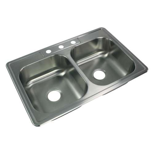 Samuel Mueller Silhouette 33in x 22in 20 Gauge Drop-in Double Bowl Kitchen Sink with 3 Faucet Holes
