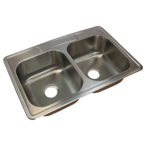 Samuel Mueller Silhouette 33in x 22in 18 Gauge Drop-in Double Bowl Kitchen Sink with MR2 Faucet Holes