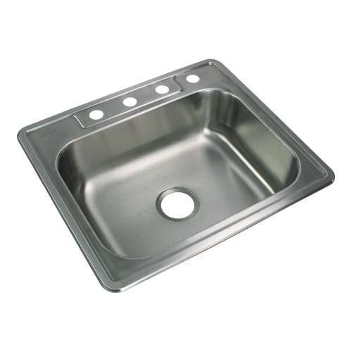Samuel Mueller Silhouette 25in x 22in 22 Gauge Drop-in Single Bowl Kitchen Sink with 4 Faucet Holes