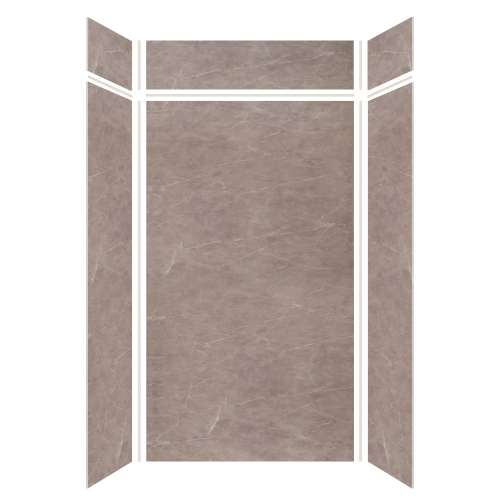 Silhouette 48-in x 36-in x 84/12-in Glue to Wall 3-Piece Transition Shower Wall Kit, Brown Stone