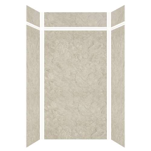 Silhouette 48-in x 36-in x 84/12-in Glue to Wall 3-Piece Transition Shower Wall Kit, Tundra