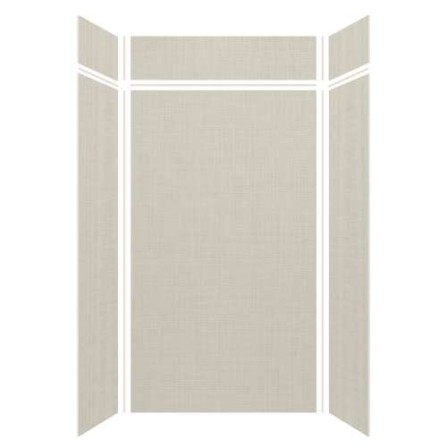 Silhouette 48-in x 36-in x 84/12-in Glue to Wall 3-Piece Transition Shower Wall Kit, Linen