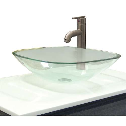 Samuel Mueller Salinas Glass 16.5-in Square Vessel Sink