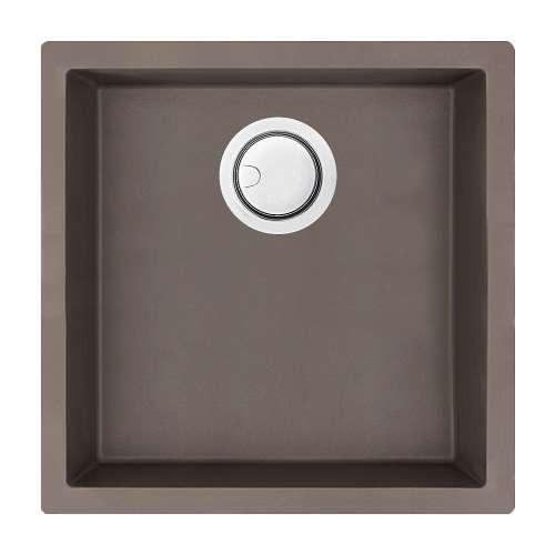 Samuel Mueller Zara 18in x 18in silQ Granite Integral/Dual Mount Single Bowl Kitchen Sink with 0 Holes, In Espresso
