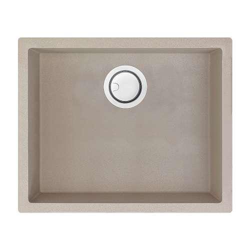 Samuel Mueller Zara 22in x 18in silQ Granite Integral/Dual Mount Single Bowl Kitchen Sink with 0 Holes, In Champagne