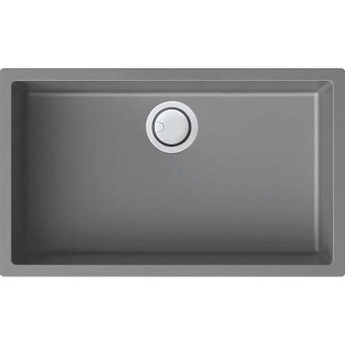 Samuel Mueller Zara 30in x 18in silQ Granite Integral/Dual Mount Single Bowl Kitchen Sink with 0 Holes, In Grey