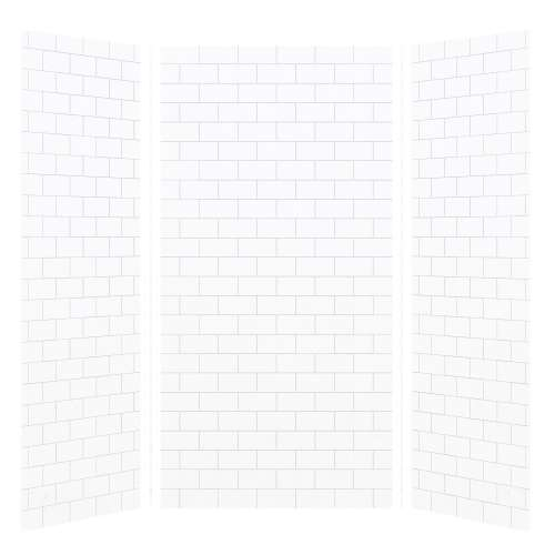 Monterey 48-in x 36-in x 96-in Glue to Wall 3-Piece Shower Wall Kit, White/Tile