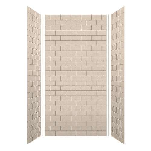 Monterey 48-in x 36-in x 96-in Glue to Wall 3-Piece Shower Wall Kit, Butternut/Tile