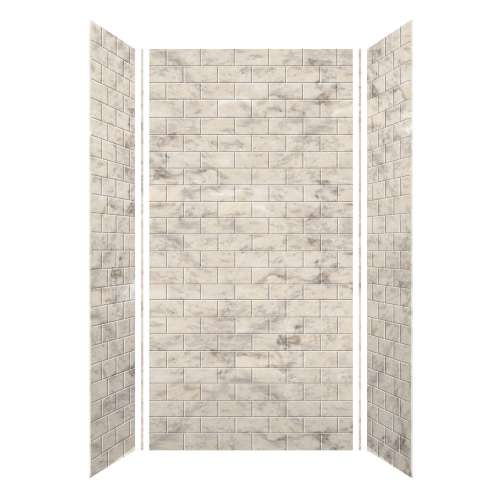 Monterey 48-in x 36-in x 96-in Glue to Wall 3-Piece Shower Wall Kit, Creme/Tile