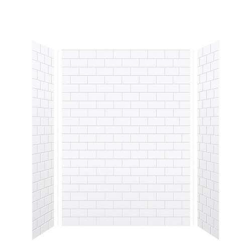 Monterey 60-in x 36-in x 84-in Glue to Wall 3-Piece Tub Wall Kit, White/Tile