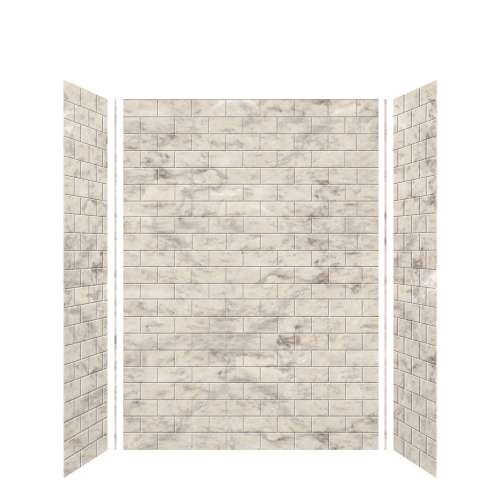 Monterey 60-in x 36-in x 84-in Glue to Wall 3-Piece Tub Wall Kit, Creme/Tile