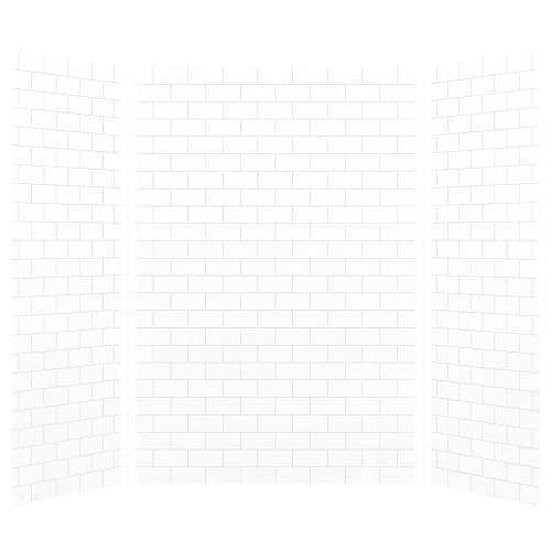 Monterey 60-in x 36-in x 96-in Glue to Wall 3-Piece Shower Wall Kit, White/Tile