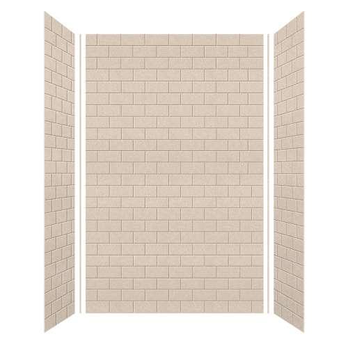 Monterey 60-in x 36-in x 96-in Glue to Wall 3-Piece Shower Wall Kit, Butternut/Tile
